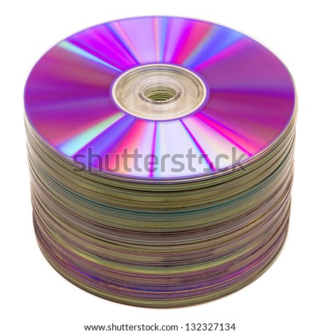 CD stack isolated on white - stock photo