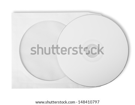 CD with paper case isolated on white background