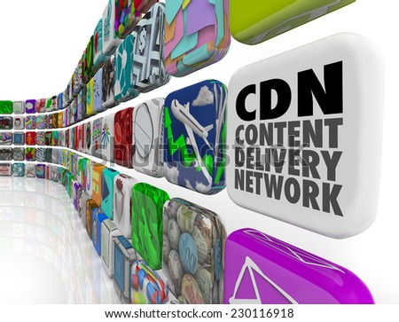 CDN Content Delivery Network words on an app tile to illustrate software, apps, technology, servers or programs for supplying photos, videos, articles or information to an audience - stock photo
