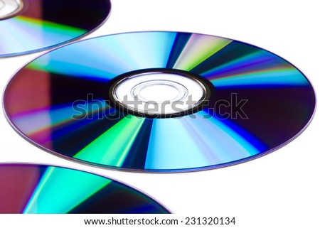 Cds and dvds on white background - stock photo