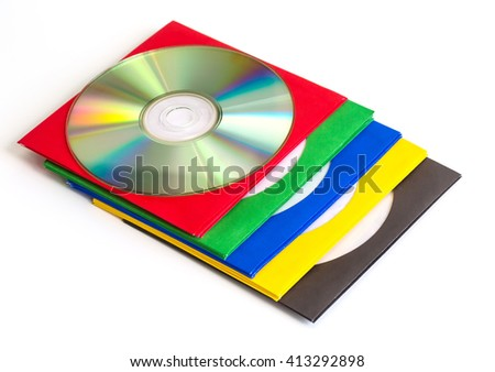 CDs / DVD, envelopes for disks  on white background, technologies - stock photo