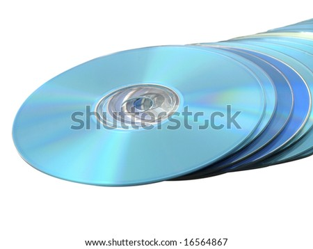 CDs DVDs Blu-ray Stack of Blue Disks Discs on White - stock photo