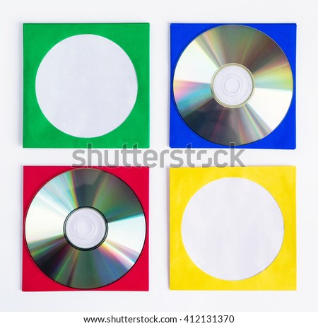 CDs / DVDs isolated on white background, technologies - stock photo