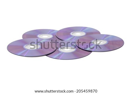 CDs or DVDs or Blu Ray discs  - stock photo