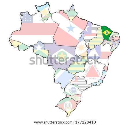 ceara on administration map of brazil with flags - stock photo