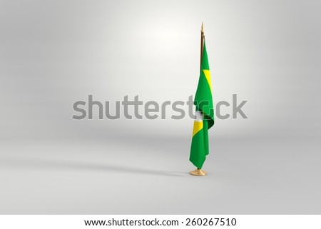 Ceara state isolated flag on a brown and golden wooden mast 3d illustration - stock photo