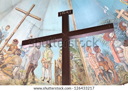 CEBU - MAY 14: Magellan's Cross in a chapel on May 14, 2012 in Cebu, Philippines. Magellan's Cross - popular tourist attraction was erected in 1521 as a symbol of the arrival of Ferdinand Magellan.