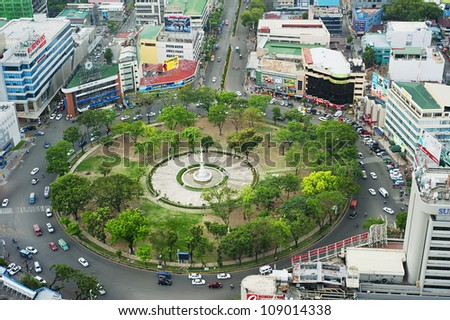 CEBU, PHILIPPINES - MAY 18: Fuente Osmena Circle on May 18, 2012, in Cebu, Philippines. Fuente Osmena circle was built on 1912. Now is the center for cultural, social, and political happenings of Cebu - stock photo