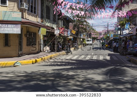 CEBU - PHILIPPINES - OCTOBER 30, 2015 : Traditional decorated street in Cebu.