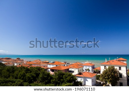 Cecina, village, Ligurian coast, Italy - stock photo