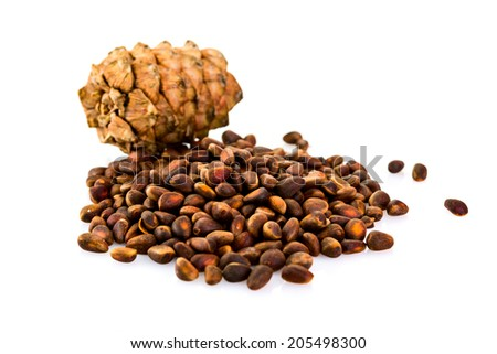 cedar pine cones with nuts isolated on white background - stock photo