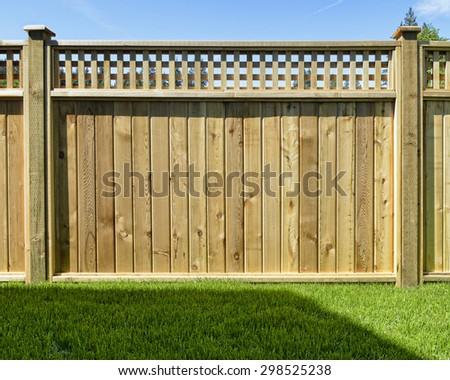 Cedar Wood Fence Panel - stock photo
