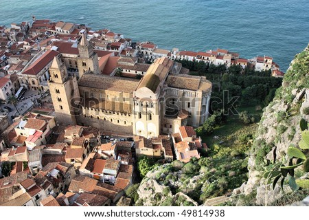 Cefalu cathedral, Sicily island in Italy. Aerial view of beautiful Mediterranean town. Province of Palermo. - stock photo