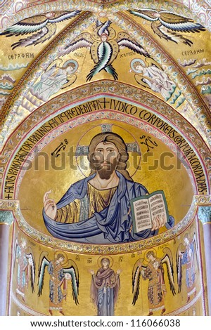CEFALU, ITALY - CIRCA APRIL 2012: The interior of the Cathedral of Cefalu circa April 2012. The Cathedral of Cefalu is located in Cefalu, Sicily, Italy. It is famous by mosaic of Christ Pantocrator. - stock photo