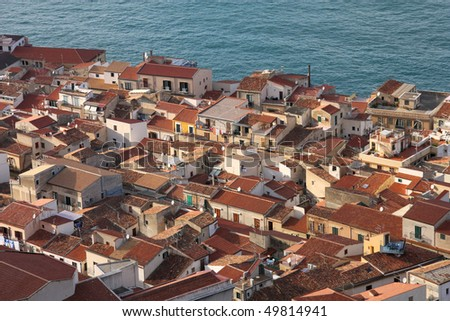 Cefalu, Sicily island in Italy. Aerial view of beautiful Mediterranean town. Province of Palermo. - stock photo