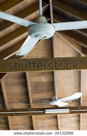ceiling fans in outdoor cabana - stock photo