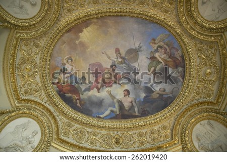 Ceiling Fresco at the Louvre Museum, Paris, France - stock photo