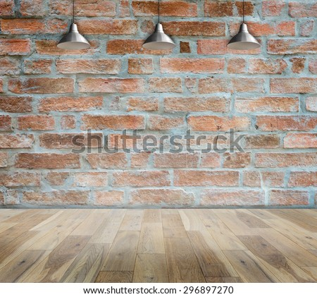 Ceiling lamp whit Old brick wall and wood floor Room interior modern style, Show the produce for your Business - stock photo