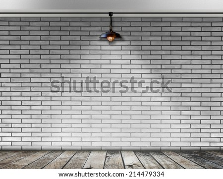 Ceiling lamp whit White Brick wall - stock photo