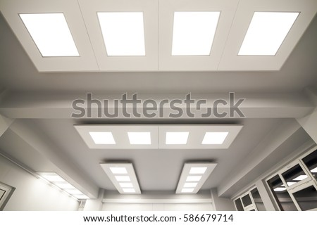Ceiling Lights Custom Designed For An Office Business Building Or A  Medical, Chemical Or Research