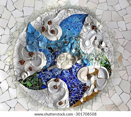 Ceiling Mosaic in the Hypostyle Room at Park Guell, Barcelona, Spain. - stock photo