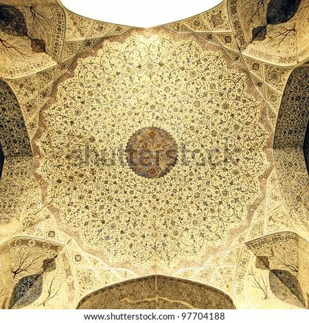 Ceiling of Ali Qapu at Naqsh-e Jahan Square in Isfahan, Iran. - stock photo
