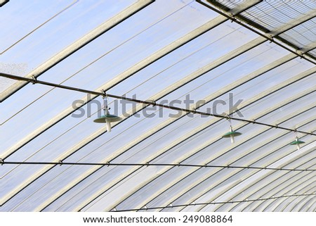 Ceiling of greenhouses, close-up  - stock photo