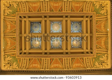Ceiling of Hall of the Library of Congress, Washington DC, United States - stock photo