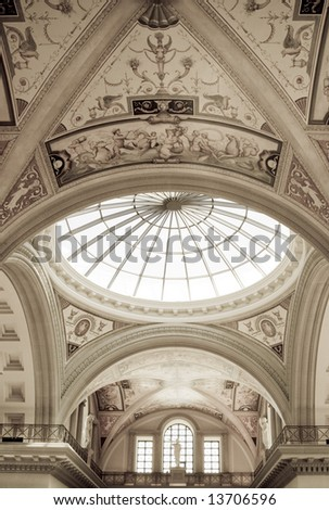 Ceiling of the forum shops in las Vegas at Caesar's Palace - stock photo