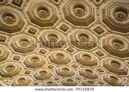 Ceiling with floral relief and decorations. Nice soft light. Location: Rome, Italy, National Monument to Victor Emmanuel II or also called Altar of the Motherland or Tomb of the Unknown Soldier