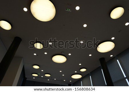 ceiling with round lights - stock photo