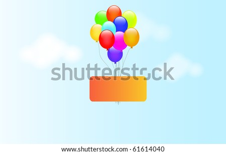 Celebrate banner and color balloons. - stock photo