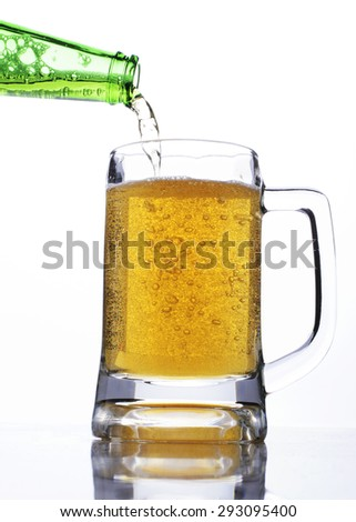 Celebrate beer days concept with step-3 pouring beer to a glass - stock photo
