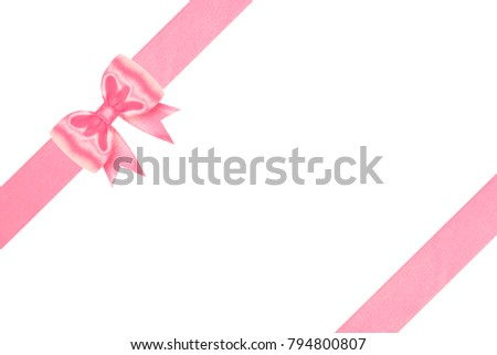 Celebrate gold bow and  slanting ribbons isolated on white background