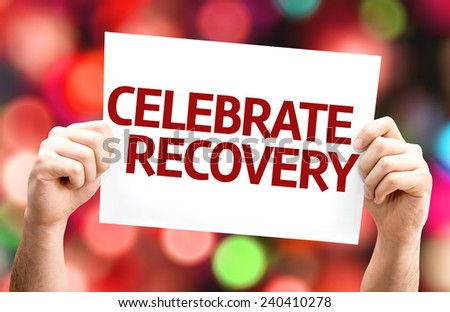 Celebrate Recovery card with colorful background with defocused lights - stock photo