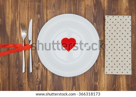 Celebrate valentine's day, Heart shape on a plate, Romantic Dinner