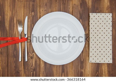 Celebrate valentine's day, Knife, fork and napkin, Romantic Dinner