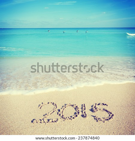 Celebrating 2015 at the beach - Miami - stock photo