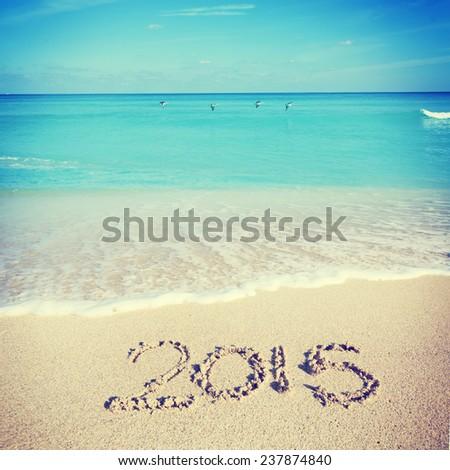 Celebrating 2015 at the beach - Miami - stock photo