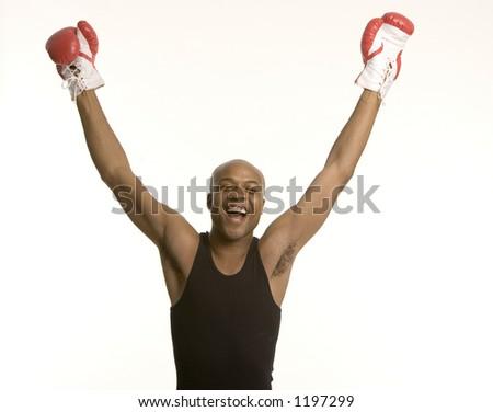 Celebrating champion - stock photo