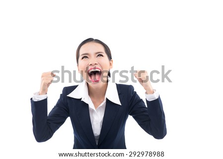 Celebrating cheering businesswoman isolated. Funny image of happy young business woman. isolated on white background. - stock photo