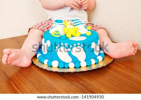 Celebrating first birthday - stock photo