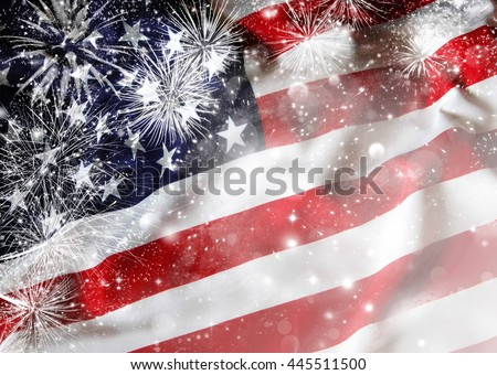 Celebrating Independence Day. United States of America USA flag with fireworks background for 4th of July - stock photo