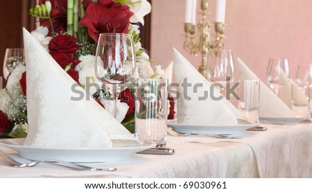 Celebrating the wedding day in a luxurious restaurant