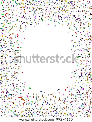 Celebration and party confetti frame and streamers in the air as a festive design element for an anniversary or birthday fun with a bunch of paper of different colors exploding in happy emotion.