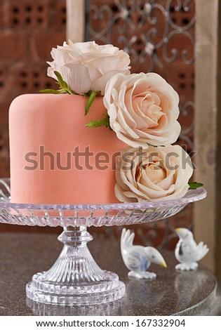 Celebration cake with roses  - stock photo