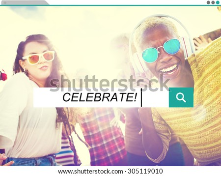 Celebration Cheerful Enjoyment Casual Party Happiness Concept - stock photo