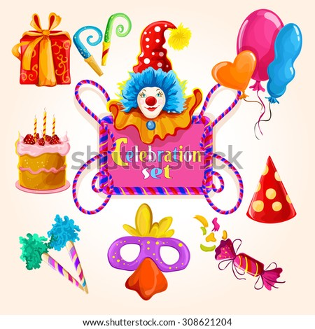 Celebration decorative icons colored set with clown balloon gift box isolated  illustration - stock photo
