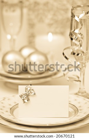 Celebration dinner setting with antique toning - stock photo