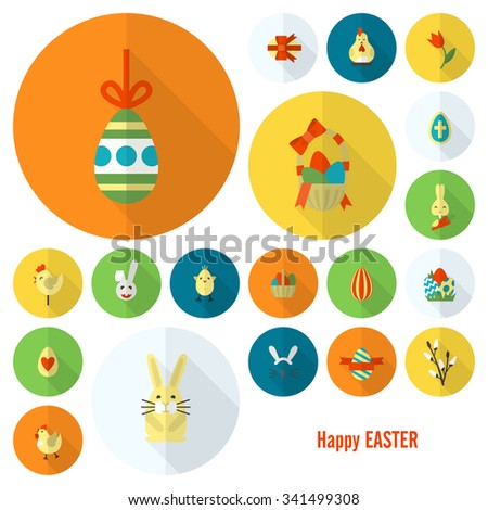 Celebration Easter Icons. . Clean Work Minimum Points - stock photo